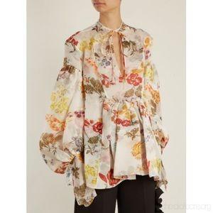 rosie assoulin Tops - Rosie Assoulin Organza Floral Swash Blouse XL